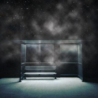 bus stop in fog